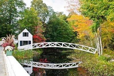 Somesville Bridge In Autumn Print by Lena Hatch