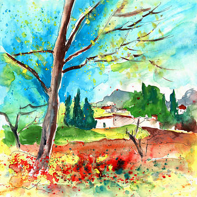 Travel Sketch Drawing - Somewhere In The South Of France by Miki De Goodaboom