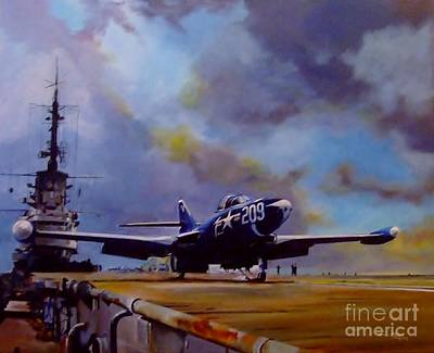 Aviation Painting - Somewhere Off Korea by Terence R Rogers