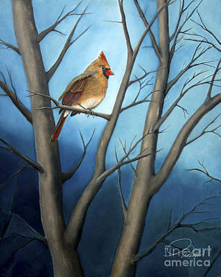 Northern Female Cardinal Print by A Wells Artworks