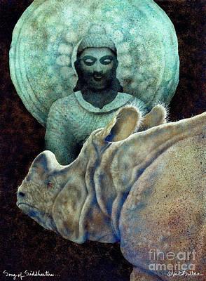 Rhino Painting - Song Of Siddhartha... by Will Bullas