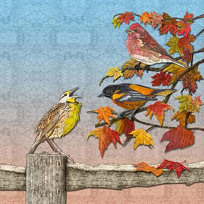 Meadowlark Digital Art - Song To An Autumn Morning by Robin Morgan