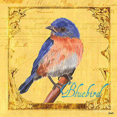 Bluebird Painting - Colorful Songbirds 1 by Debbie DeWitt