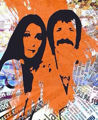 Bono Digital Art - Sonny And Cher by Trisha Buchanan