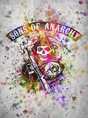 Motorcycle Drawing - Sons Of Anarchy In Color by Aged Pixel