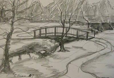 Walkway Drawing - Sope Creek Bridge by Gretchen Allen