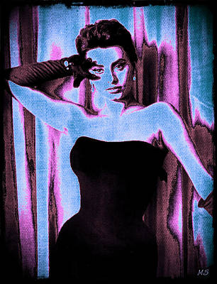 1950s Singer Digital Art - Sophia Loren - Blue Pop Art by Absinthe Art By Michelle LeAnn Scott