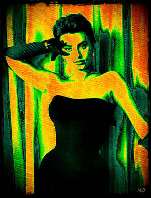 Songstress Digital Art - Sophia Loren - Neon Pop Art by Absinthe Art By Michelle LeAnn Scott