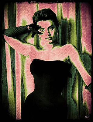 1950s Singer Digital Art - Sophia Loren - Pink Pop Art by Absinthe Art By Michelle LeAnn Scott