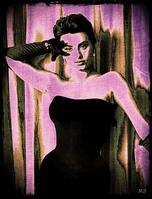 Songstress Digital Art - Sophia Loren - Purple Pop Art by Absinthe Art By Michelle LeAnn Scott