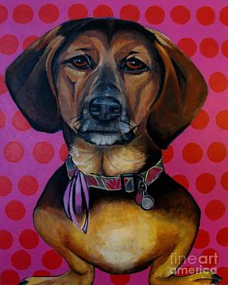 Dachshund Art Mixed Media - Sophia - My Rescue Dog  by Grace Liberator
