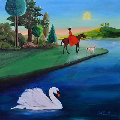 Swans... Painting - Sophia Rides Out by Mike Paget