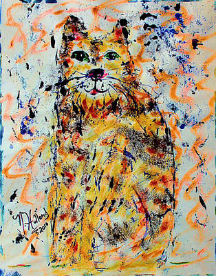 Orange Tabby Mixed Media - Sophisticated Cat 3 by Natalie Holland