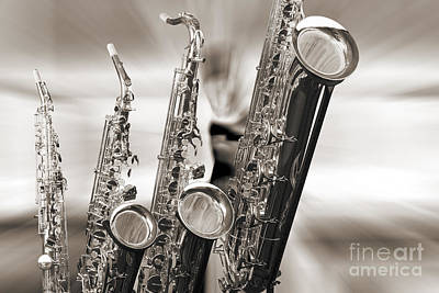 Band Photograph - Soprano Alto Tenor Bari Saxophone Photo In Sepia 3460.01 by M K  Miller