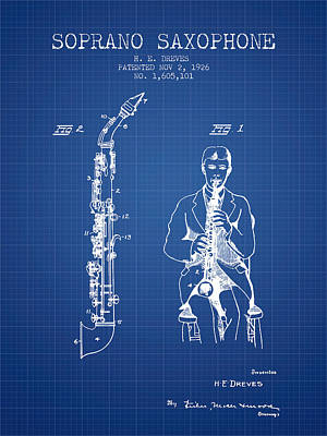 Saxophone Digital Art - Soprano Saxophone Patent From 1926 - Blueprint by Aged Pixel