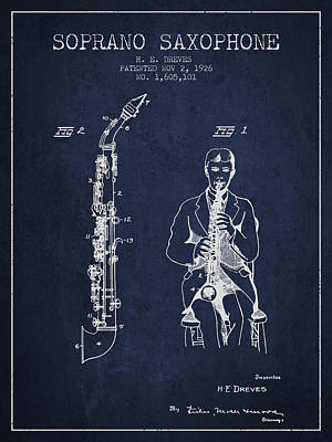 Saxophone Digital Art - Soprano Saxophone Patent From 1926 - Navy Blue by Aged Pixel