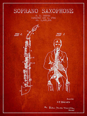 Saxophone Digital Art - Soprano Saxophone Patent From 1926 - Red by Aged Pixel