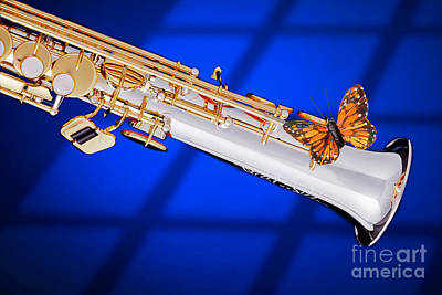 Saxophone Photograph - Soprano Saxophone With Butterfly Color Blue 3350.02 by M K  Miller