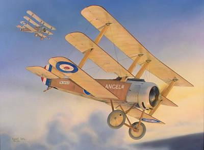 Sopwith Triplanes At Dawn Original by Robert Karr