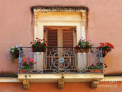 Sorrento Italy Balcony Print by Bob Christopher