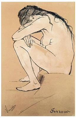 Crying Drawing - Sorrow by Vincent van Gogh