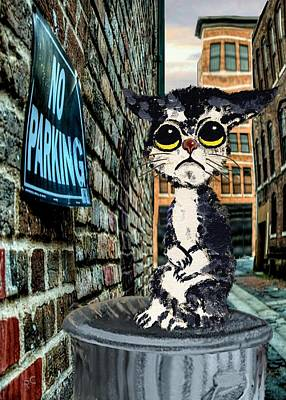 Sorrowful Cat On Can Print by Ron and Ronda Chambers