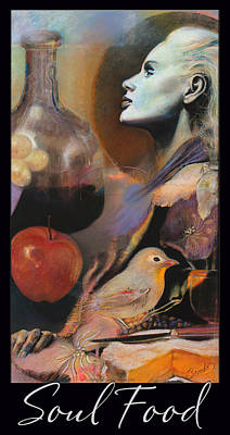 Glass Of Wine Mixed Media - Soul Food - With Black Border And Title by Brooks Garten Hauschild