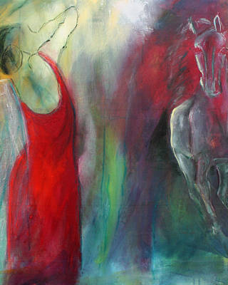 Woman In Red Dress Painting - Soul Mates by Helle Borg Hansen