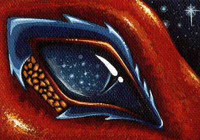 Dragon Eye Painting - Soul Of The Starry Eyed Dragon by Elaina  Wagner