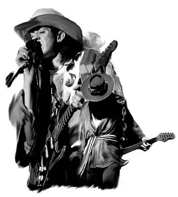 Soul To Soul  Stevie Ray Vaughan Print by Iconic Images Art Gallery David Pucciarelli