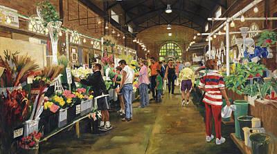 Soulard Market Shopping Flowers Original by Don  Langeneckert