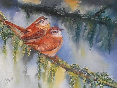 Wren Painting - Soulmates by Patricia Pushaw