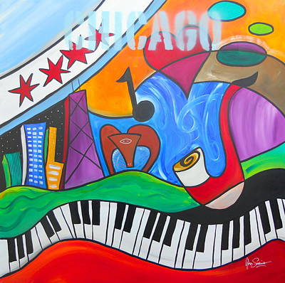 Hancock Building Painting - Sounds Of Chicago by Gino Savarino