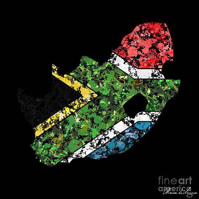 Cartography Digital Art - South Africa Map Flag by Marion De Lauzun