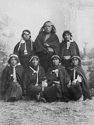 Crouched Photograph - South American Arancanos Tribe by Underwood Archives