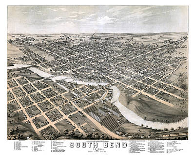 South Bend - Indiana - 1874 Print by Pablo Romero