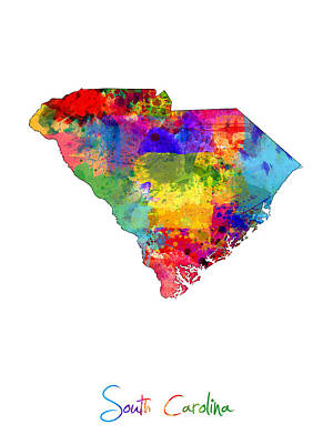 Geography Digital Art - South Carolina Map by Michael Tompsett