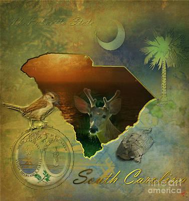 Carolina Wren Digital Art - South Carolina Map by Ruta Naujokiene