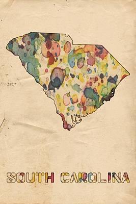 America Painting - South Carolina Map Vintage Watercolor by Florian Rodarte