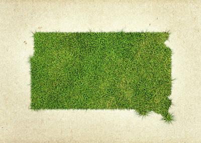 South Dakota Grass Map Print by Aged Pixel