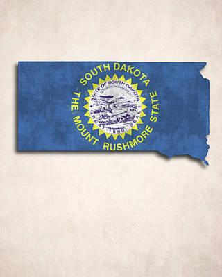 South Dakota Map Art With Flag Design Print by World Art Prints And Designs