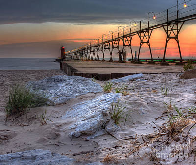 South Haven Beach And Lighthouse Print by Twenty Two North Photography