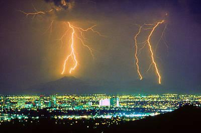 South Mountain Lightning Strike Phoenix Az Print by James BO  Insogna