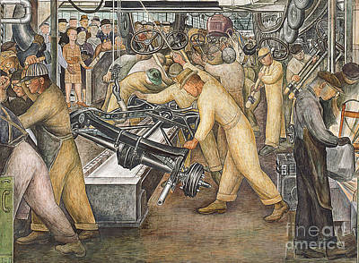 Mural Painting - South Wall Of A Mural Depicting Detroit Industry by Diego Rivera
