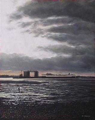 Southampton Docks From Weston Shore Winter Sunset Print by Martin Davey