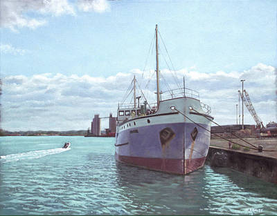 Steam Ships Painting - Southampton Docks Ss Shieldhall Ship by Martin Davey