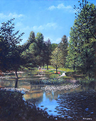 Tall Tree Painting - Southampton Hillier Gardens Late Summer by Martin Davey