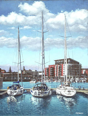 Boats In Water Painting - Southampton Ocean Village Marina by Martin Davey