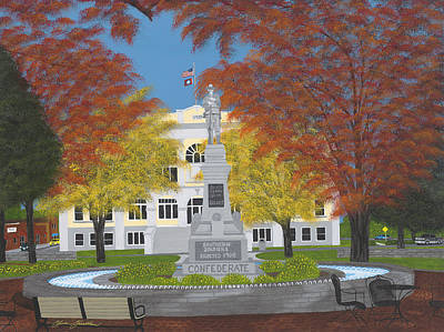 County Courthouse Statue Painting - Southern Soldier by Clinton Cheatham