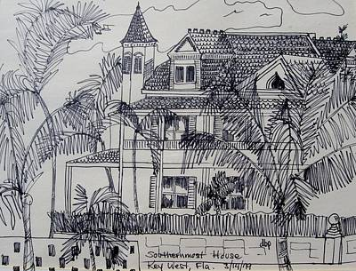 Mixed Media - Southernmost House  Key West Florida by Diane Pape